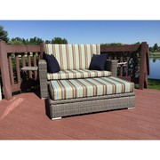 Patio Wicker Loveseat with Storage Ottoman On Sale